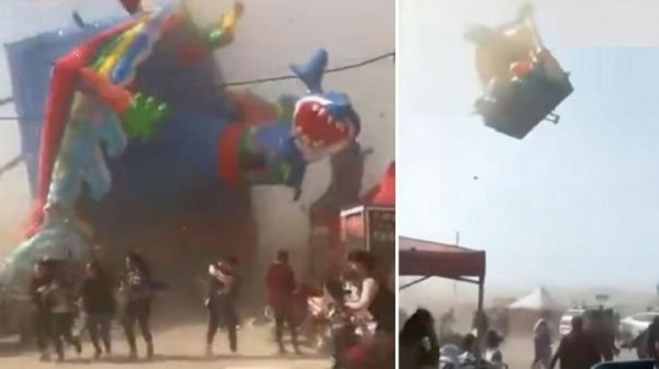 Video: un tornado mortal se llevó un castillo inflable con chicos en el interior